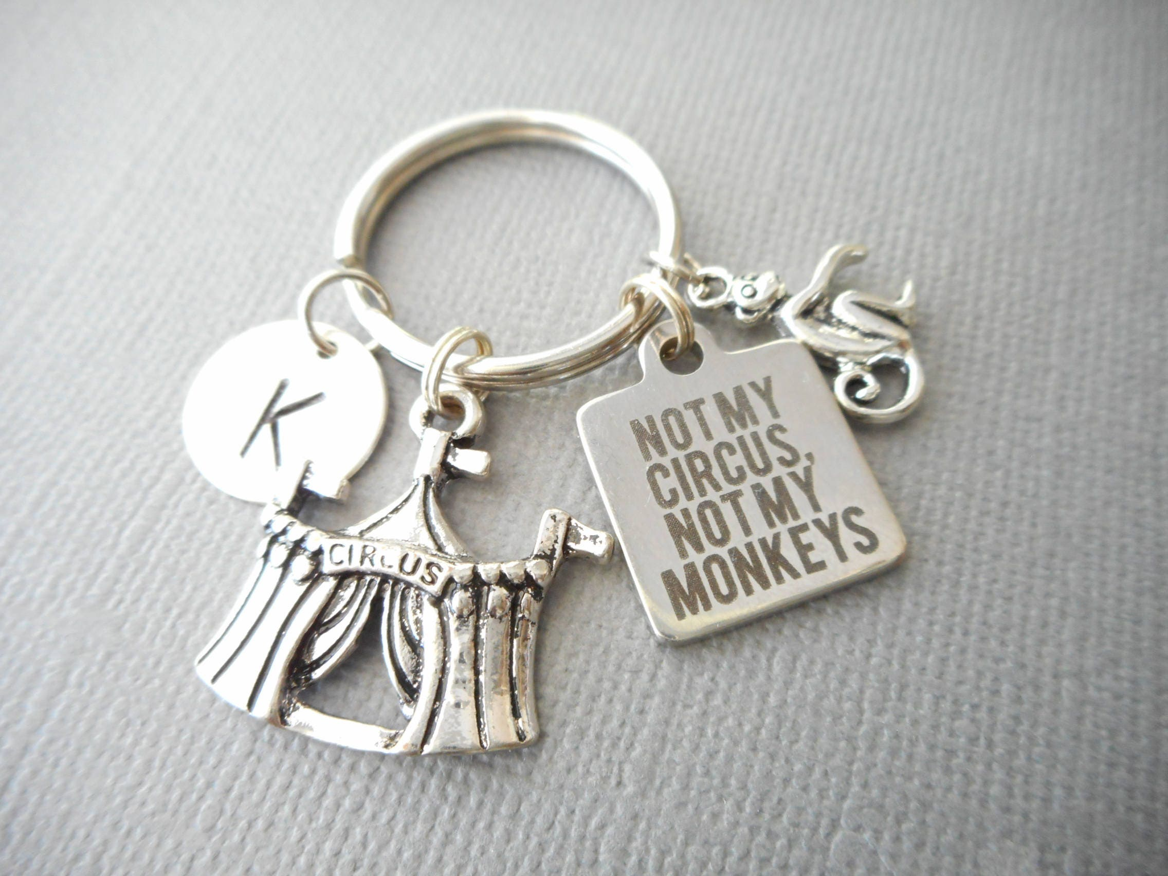 Not My Circus Monkeys Initial Keychain Quote Jewelry Office Gift