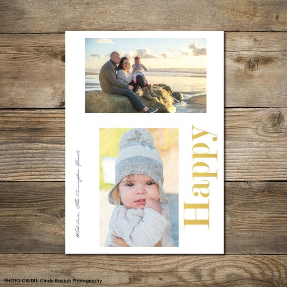 Photo Christmas Card : Faux Gold/Silver/Copper Foil Happy Photo Holiday Card Printable