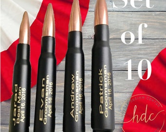 Groomsmen Gifts/TEN Engraved Black .50 Cal Bullet/Personalized Bottle Openers/Father of the Bride Gift/Best Man Gift/Father of the Groom
