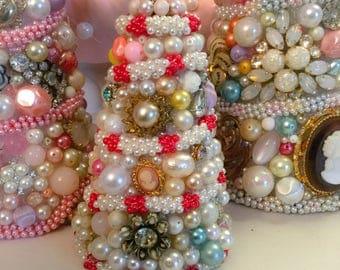 """Chic Vintage Jewelry Tree OOAK 4 1/4"""" Pinks, Purple, Cream Rhinestones...OOAK"""