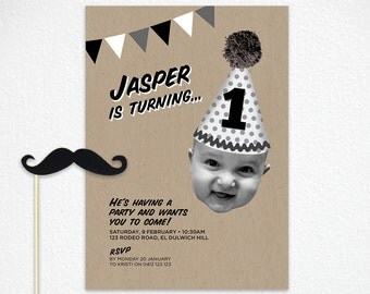 Printable 1st Birthday Invitation in Black and White