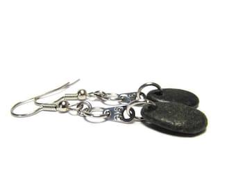 Black Beach Stone Earrings, John 3:16 Earrings, 316 Metal Tags, Stainless Steel, Fishhook Ear Wires, Dangle Earrings, Lake Michigan Stones