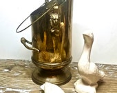 Rustic, Wine Bucket with Brass Lion Heads and Brass Handles, Made in Holland, Man Cave, Unisex