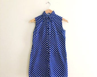 Vintage Bobby Brooks Polkadot Romper// Blue & White Button Down Collared Playsuit // Shorts Onesie - 60s
