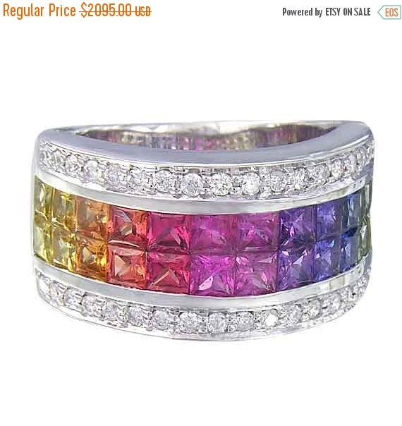 Last Chance Sale Multicolor Rainbow Sapphire & Diamond Invisible Set Band Ring 14K White Gold (4.3ct tw) SKU: 1532-14K-Wg