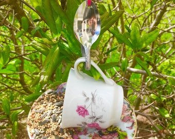 Custom Teacup Bird Feeder with Personalized Stamped Spoon