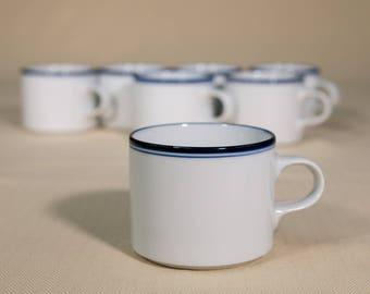 7 Vintage Dansk Concerto Coffee Cups | Espresso Coffee Mugs | Blue and White Ceramic