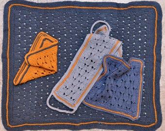 Basketweave Lace Bath Set knitting pattern - instant download