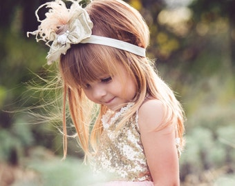 Gold Champagne Glitter Bow clip or headband dupioni silk rose bow baby girl bow with Crystals feathers pearls