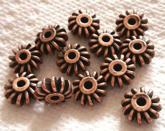 12pc 12x6mm antique copper finish metal beads-OFF1