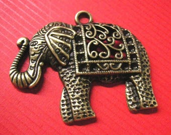 2pc antique bronze fancy elephant pendant-5362