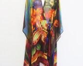 Pure Silk Still Life Bowl of Flowers Crossover Wrap Kimono With Headband Kaftan by LaMolli