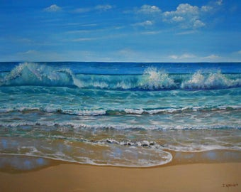 Large original oil painting A Praia 36 X 48 inches stretched canvas beach seascape ocean