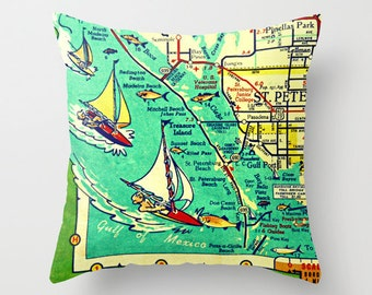 Custom Florida pillow cover 18x18, Florida throw pillow, Florida gift, vintage Map Throw Pillow  Housewarming gift, unique corporate gifts