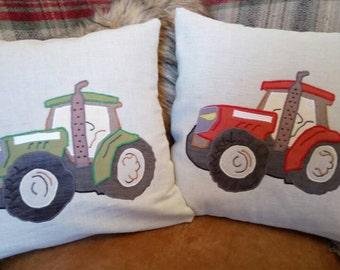 """Modern Tractor Cushion Pillow Vehicle Farm Yard 18""""x18"""" 45x45cm Bye Brytshi"""