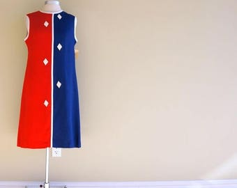 Red White & Blue Dress MEDIUM 1960s Colorblock Linen Shift Dress Mod Diamond Appliques Sleeveless Day Dress Patriotic Vintage Deadstock NWTs
