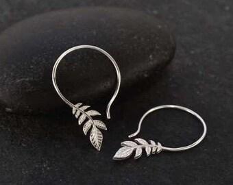 Silver hoop earrings - Leaf hoops - Leaf Dangle Earring - silver hoop earrings - leaf hoop earrings - Sterling Silver