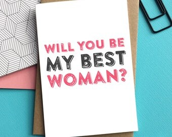 Will You Be My Best Woman Contemporary Letterpress Inspired Typographic Wedding Celebration Card DYPW032