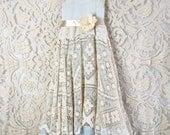 Balance for Megan tan cream & French blue crochet tiered boho bridesmaid dress by mermaid miss kristin