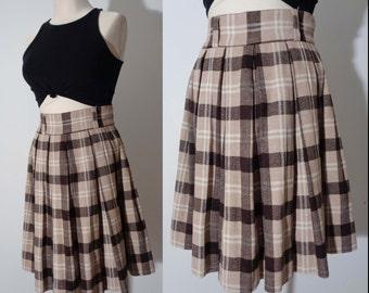 Vtg 60s Brown & Beige PLAID CIRCLE MINI Skirt, So Cute! Small