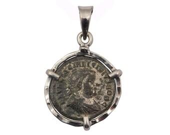 Roman coin pendant, coin statement pendant, silver coin pendant, coin pendant necklace, antique coin pendant, ancient coin pendant