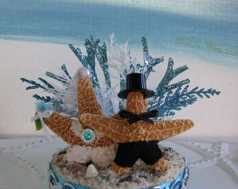 Starfish on a Beach Wedding Cake Topper~Seashell Wedding Cake Topper