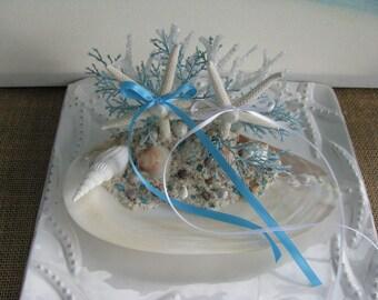 Seashell Starfish Ring Bearer Holder~Beach Wedding Ring Bearer Seashell~Starfish Ring Bearer Seashell
