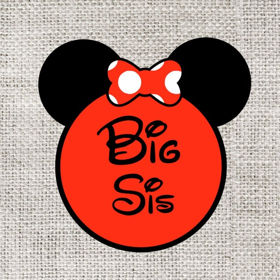 INSTANT DOWNLOAD Disney Big Sis Sister Printable DIY Iron On to Tee T-Shirt Transfer - Digital File