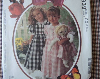 vintage 1990s sewing pattern McCalls toddler girl's dress and pantaloon and doll's dress and pantaloon UNCUT size 2-3-4