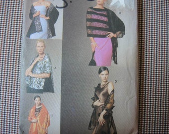 2000s vogue sewing pattern 7377 evening shawls UNCUT one size