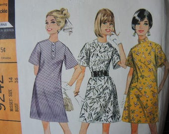 vintage 1960s McCall's sewing pattern 9242 misses dress in three versions size 14