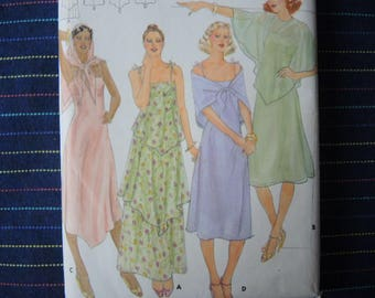 vintage 1970s Butterick sewing pattern 5420 misses dress capelet and scarf size 6/8