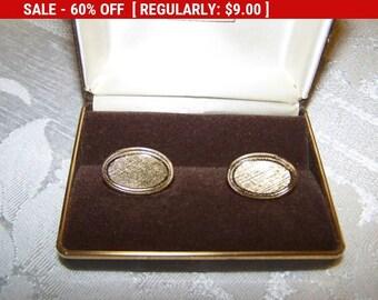 Vintage Avon brushed gold tone oval cufflinks