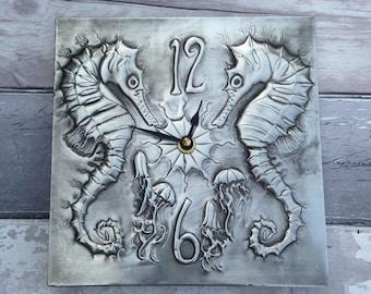 Seahorse Pewter Wall Clock