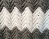 Modern grey and white, hand crocheted baby afghan. Generous size by GRANDMA D.