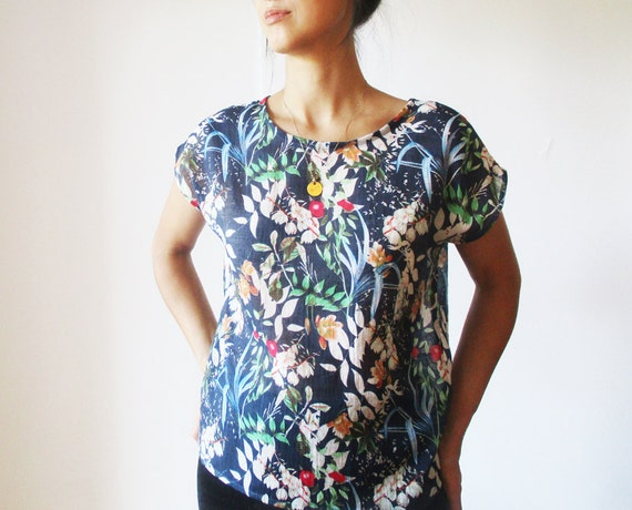 Blue Leafy Top in Rayon