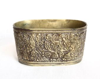 Vintage brass or bronze planter...embossed brass or bronze planter...jardiniere...small planter.