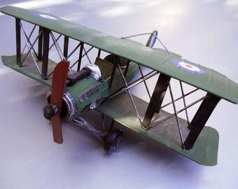 Vintage Handmade Hand Painted WW2 Military Biplane