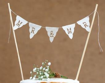 Mr & Mr Wedding cake bunting topper - real fabric mini cake garland