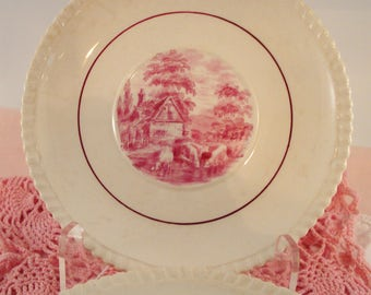 Vintage Luncheon Plates Red Transferware Salad Plates Copeland Late Spode Gadroon Pastoral Scenes Windmill Cattle Set of 4 Rare