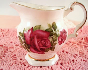 Vintage Elizabethan English Bone China Red Rose Creamer Milk Pitcher Vintage Tea Party