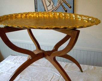 MidCentury Moroccan Middle Eastern Oval Brass Tray Folding Spider Leg Table - 1950s'