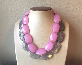 Pink & Gray Necklace, multi strand jewelry, big beaded chunky statement necklace, pink necklace, bridesmaid necklace, gray necklace