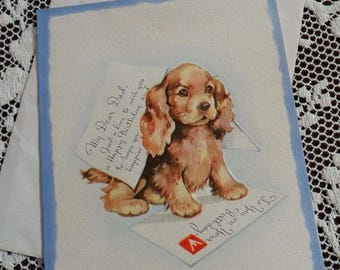 ON SALE Vintage Happy Birthday My Dear Dad Greetings Embossed Card & Envelope Unused 1940s 1950s Cute Puppy Spaniel Dog Playing Ink Quill Pe