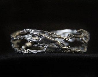 Greyhound Bracelet - Whippet Bangle - Running Sighthound - Galgo Jewelry - Pewter