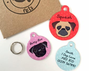 Pug Dog Tag Personalised - Circle Polka Dot - Pug Collar Tag