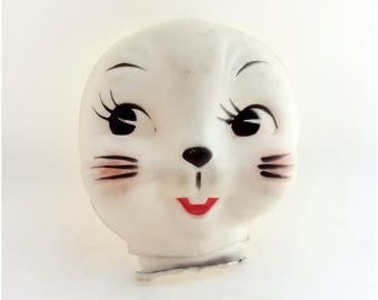 Soft Plastic Bunny Rabbit Kitsch Half Doll Face for Crafting