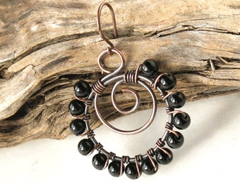 Beaded hoop earrings - black onyx gemstone beads, copper wire wrapped spirals