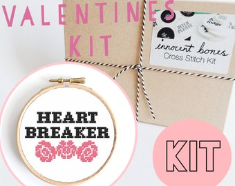 Heart Breaker Modern Cross Stitch Kit - easy chart design guide & supplies- valentines design - embroidery kit bad taste popculture