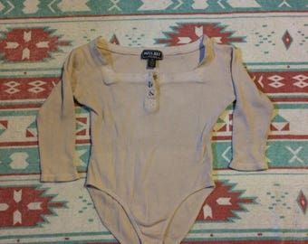 Vintage One Piece Beige Colored Thermal Bodysuit